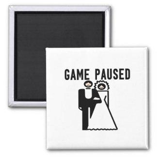 Game Paused Bride & Groom Square Magnet