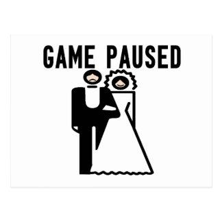 Game Paused Bride & Groom Postcard