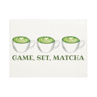 Game Set Match Matcha Green Tea Latte Foodie Doormat