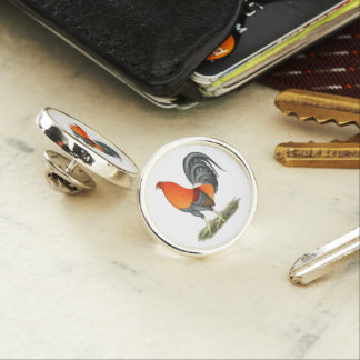 Gamecock Blue Red Rooster Lapel Pin