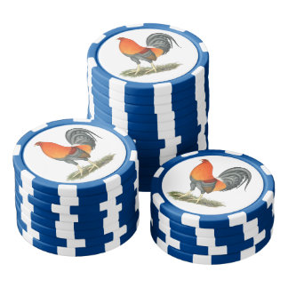 Gamecock Blue Red Rooster Poker Chip Set