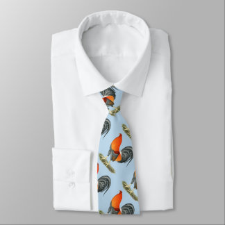 Gamecock Blue Red Rooster Tie