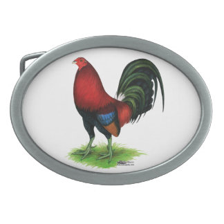 Gamecock:  Dark Red Oval Belt Buckles