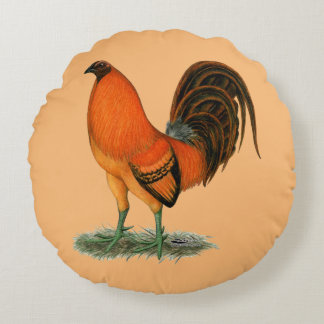 Gamecock Ginger Red Rooster Round Cushion