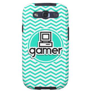 Gamer Aqua Green Chevron Samsung Galaxy S3 Cases