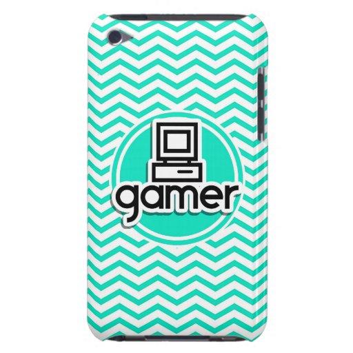 Gamer; Aqua Green Chevron Barely There iPod Cases
