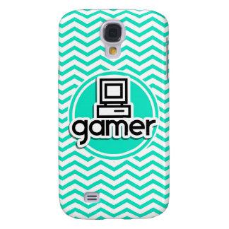 Gamer Aqua Green Chevron Samsung Galaxy S4 Cases