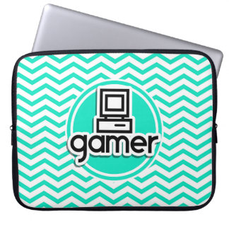 Gamer Aqua Green Chevron Laptop Computer Sleeves