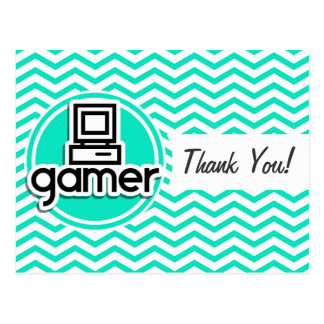 Gamer Aqua Green Chevron Postcard