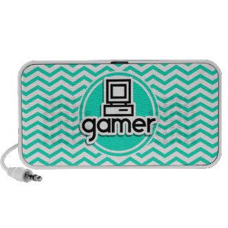 Gamer Aqua Green Chevron Notebook Speakers
