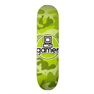 Gamer; bright green camo, camouflage 20 cm skateboard deck