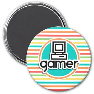 Gamer Bright Rainbow Stripes Magnets