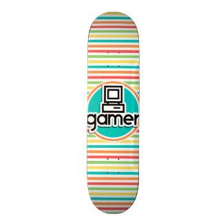 Gamer Bright Rainbow Stripes Skate Boards