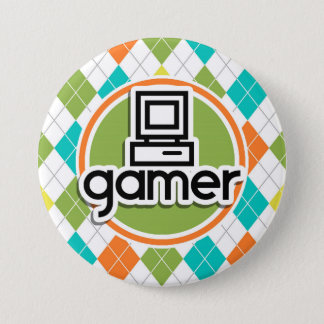 Gamer; Colorful Argyle Pattern 7.5 Cm Round Badge