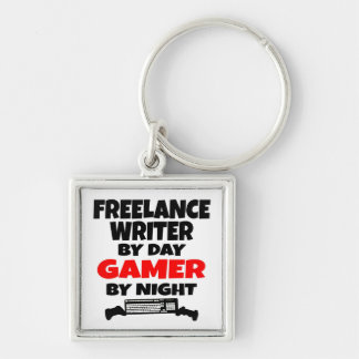 Gamer Freelance Writer Silver-Colored Square Key Ring