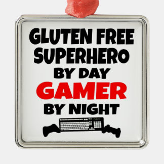 Gamer Gluten Free Superhero Metal Ornament