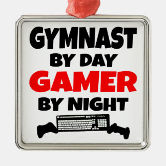 Gamer Gymnast Silver-Colored Square Decoration