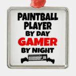 Gamer Paintball Player Square Metal Christmas Ornament