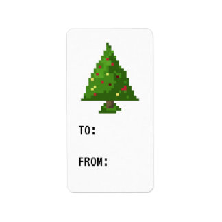 Gamer Pixel Christmas Tree Sticker Gift Tag Address Label