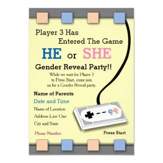 Gamer Player 3 Baby Shower Invite
