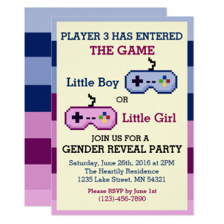 Gamer Player 3 Gender Reveal Baby Shower Invite
