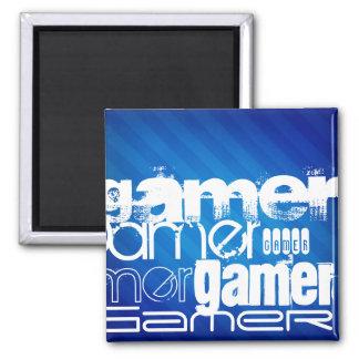 Gamer; Royal Blue Stripes Magnets