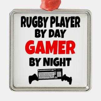 Gamer Rugby Player Silver-Colored Square Decoration