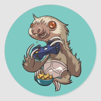 Gamer Sloth Eating Nachos in Underpants Cartoon Round Sticker