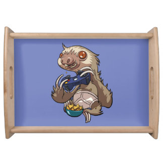 Gamer Sloth Eating Nachos in Underpants Cartoon Serving Tray