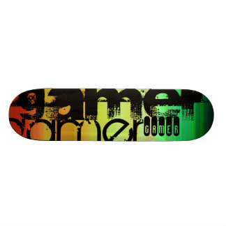 Gamer; Vibrant Green, Orange, & Yellow Custom Skate Board