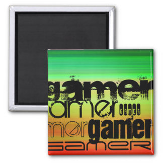 Gamer; Vibrant Green, Orange, & Yellow Square Magnet