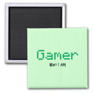 Gamer Who I Am Square Magnet