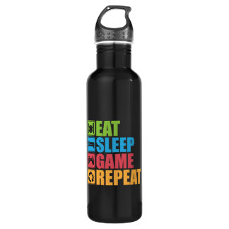 Gaming - Eat, Sleep, Game, Repeat - Gamer, Funny 710 Ml Water Bottle