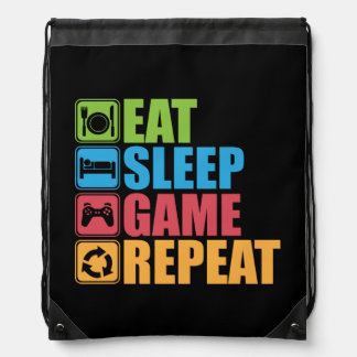 Gaming - Eat, Sleep, Game, Repeat - Gamer, Funny Drawstring Bag