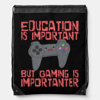 Gaming Is Importanter Than Education - Funny Gamer Drawstring Bag
