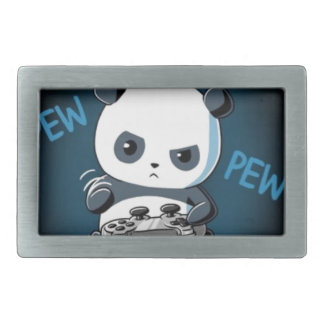 Gaming Panda Design Rectangular Belt Buckle