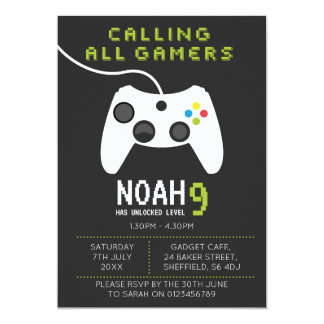Gaming themed birthday party invitation