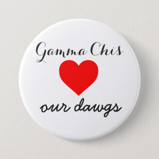 Gamma Chi loves the dawgs 7.5 Cm Round Badge