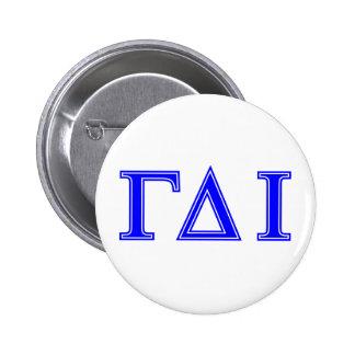 Gamma Delta Iota (Blue Letters) 6 Cm Round Badge