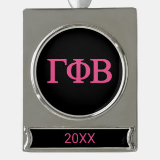 Gamma Phi Beta Lil Big Logo Silver Plated Banner Ornament