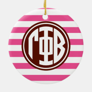Gamma Phi Beta | Monogram Stripe Pattern Ceramic Ornament