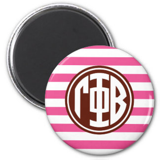 Gamma Phi Beta | Monogram Stripe Pattern Magnet