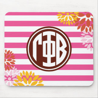 Gamma Phi Beta | Monogram Stripe Pattern Mouse Pad