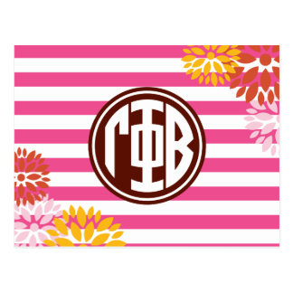 Gamma Phi Beta | Monogram Stripe Pattern Postcard
