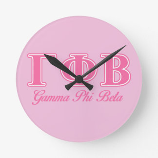 Gamma Phi Beta Pink Letters Round Clock