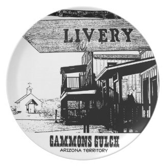 Gammons Gulch Movie Set Souvenir Button Dinner Plate
