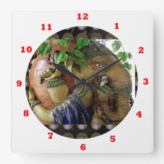 Ganapati Ganesh with Ganga Jal Vessel Square Wall Clock