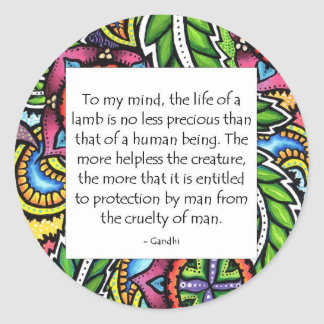 Gandhi Animal Quote Classic Round Sticker