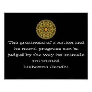 Gandhi animal rights vegan vegetarian quote poster