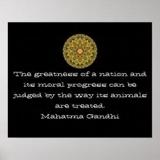 Gandhi animal rights vegan vegetarian quote poster